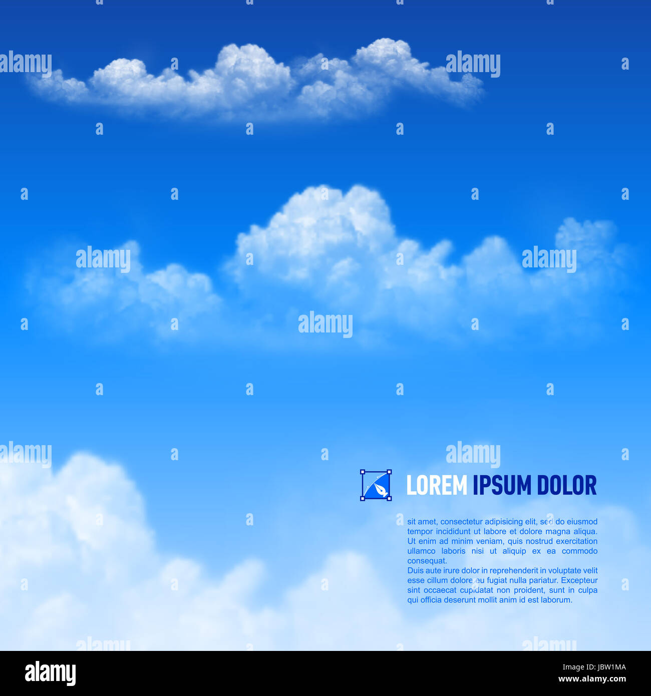 Fluffy white clouds on the sky  background. Down text - Stock Image