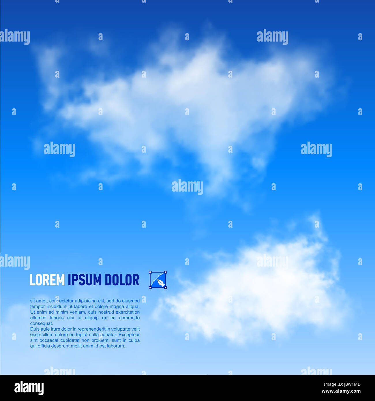 Fluffy white clouds on the sky blue background. Down text - Stock Image