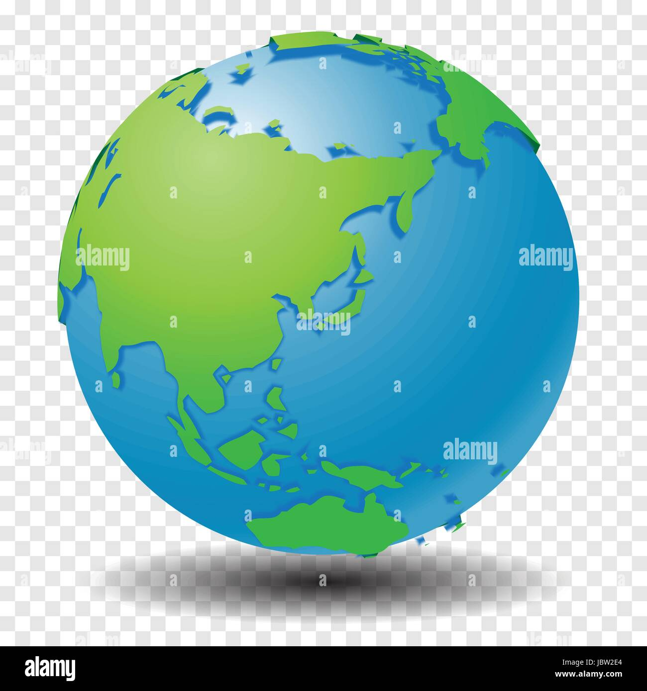 Globe with world map show asia region with smooth vector shadows on globe with world map show asia region with smooth vector shadows on transparency grid vector illustration gumiabroncs Gallery
