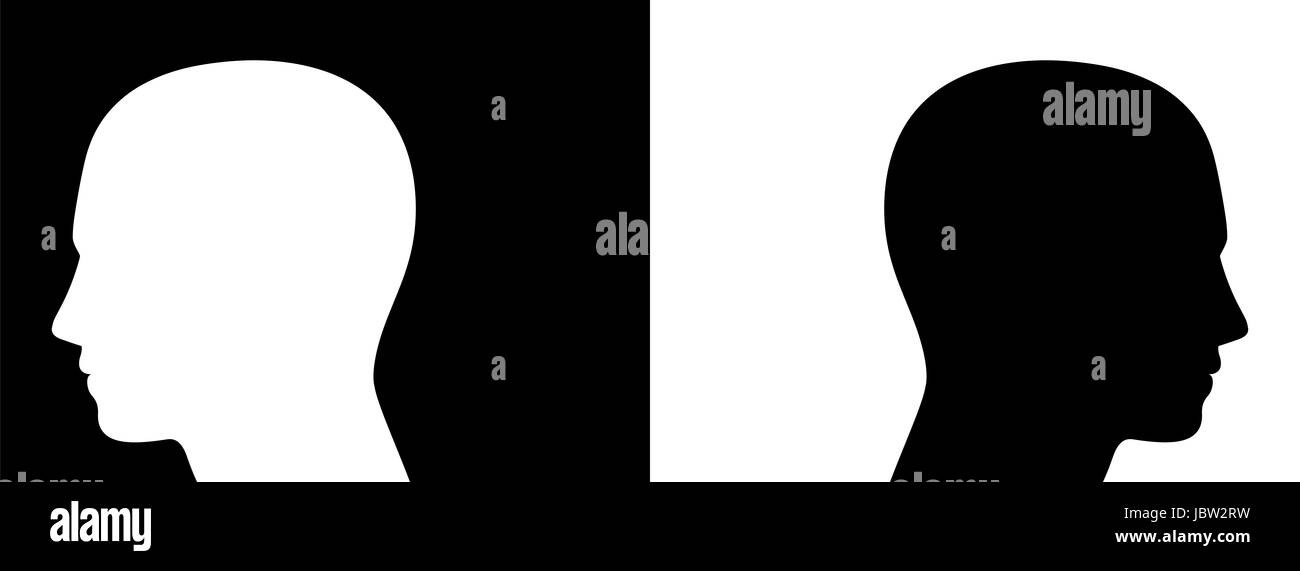 Separation, controversy, opponents - symbolically depicted with two opposed silhouettes of heads on black and white - Stock Image