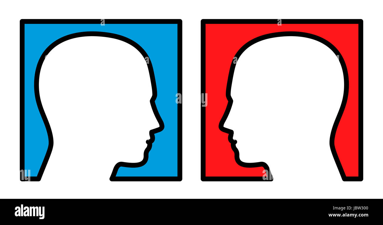 Opposition - two persons looking at each other, with blue and red background, symbolic for competition, rivalry, - Stock Image