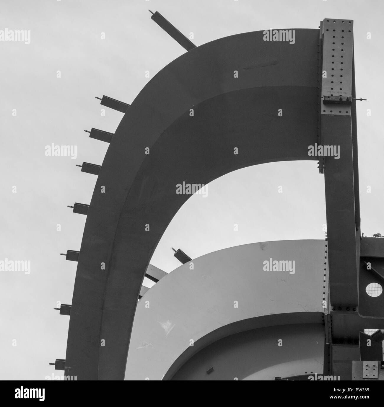 detail of steel girders in construction of building , Manhattan, New York, USA Stock Photo