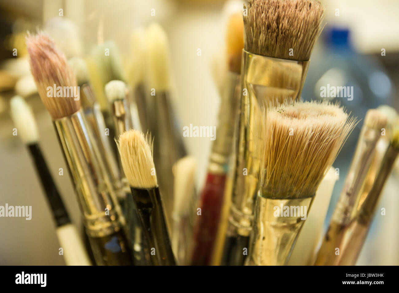 artistique paint brushes together - Stock Image