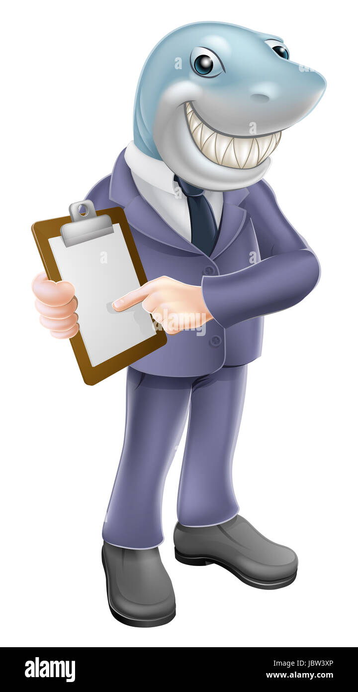 An illustration of a cartoon shark business man holding a clipboard or contract and smiling. Concept for unscrupulous, - Stock Image