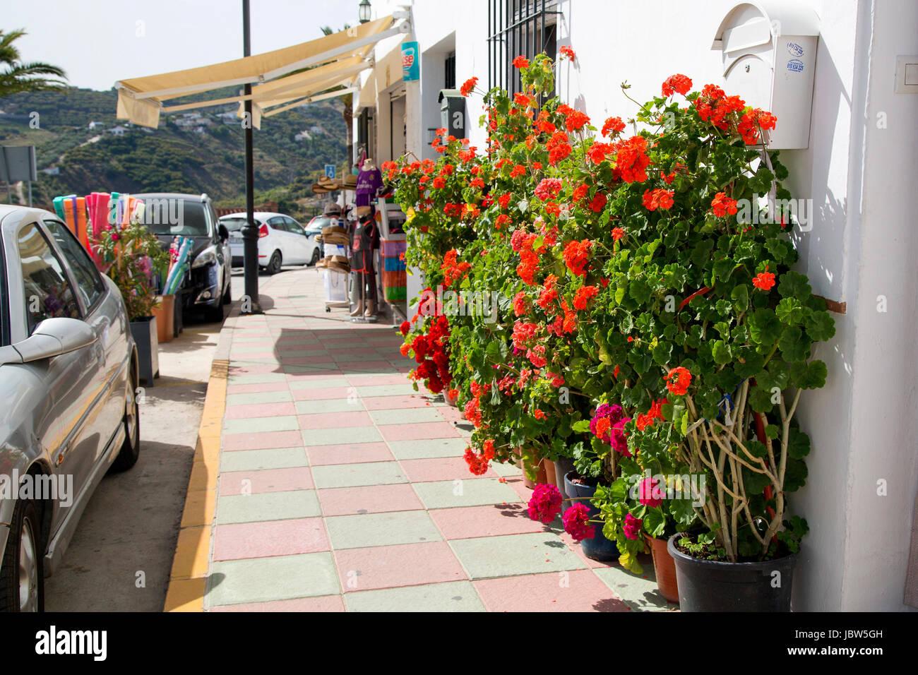 A street scene on Ave Carlos Cano, Frigiliana, Andalusia, Spain, Costa del Sol. - Stock Image