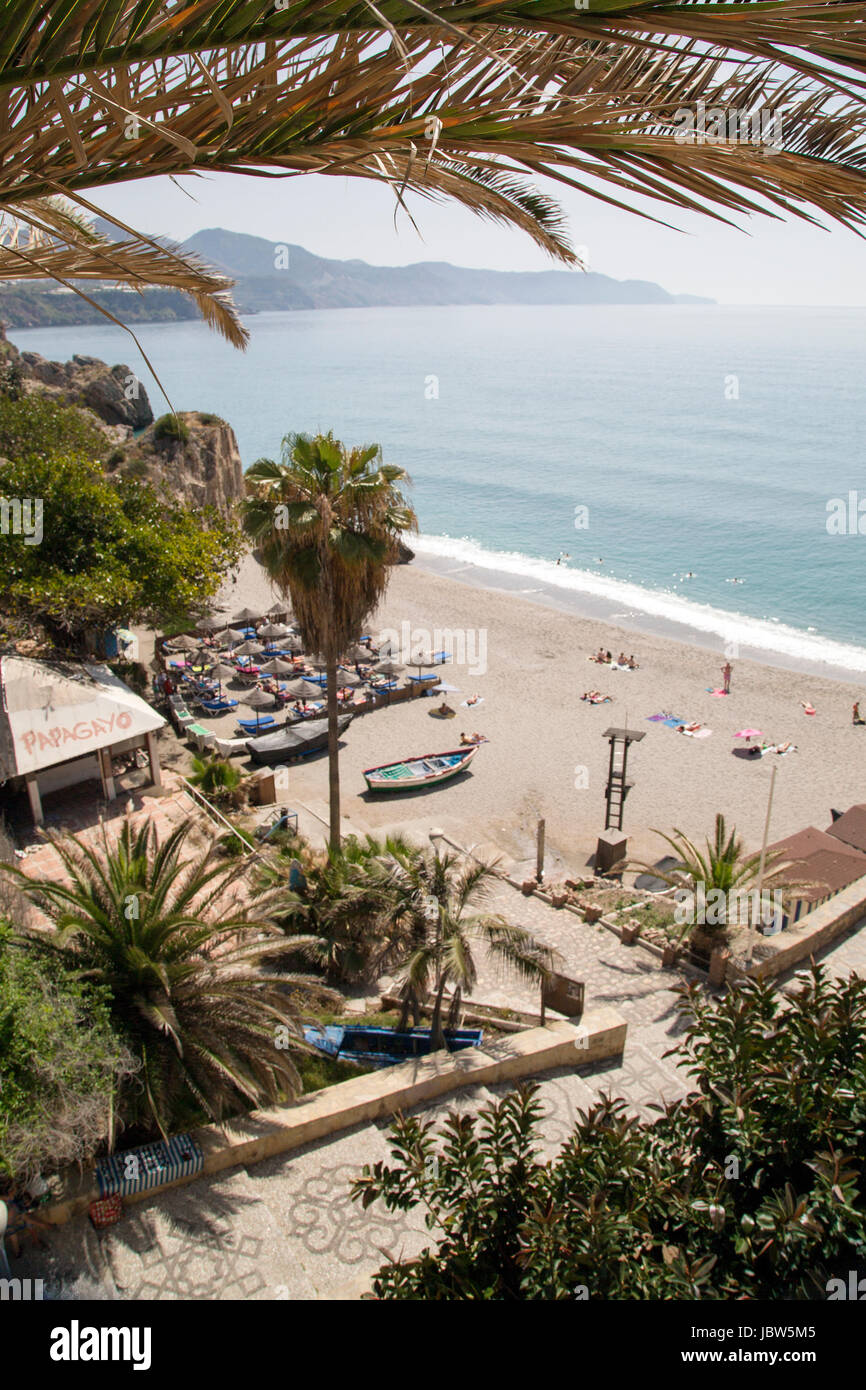 A view over the beach from Balcon de Europa, Nerja, Andalusia, Spain, Costa del Sol. - Stock Image
