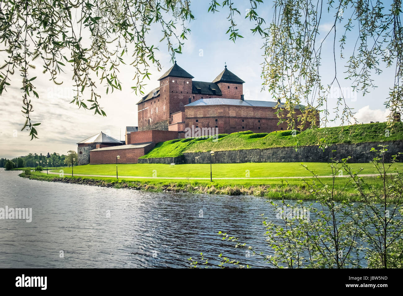 Medieval castle in the city of Hameenlinna, Finland at spring Stock Photo