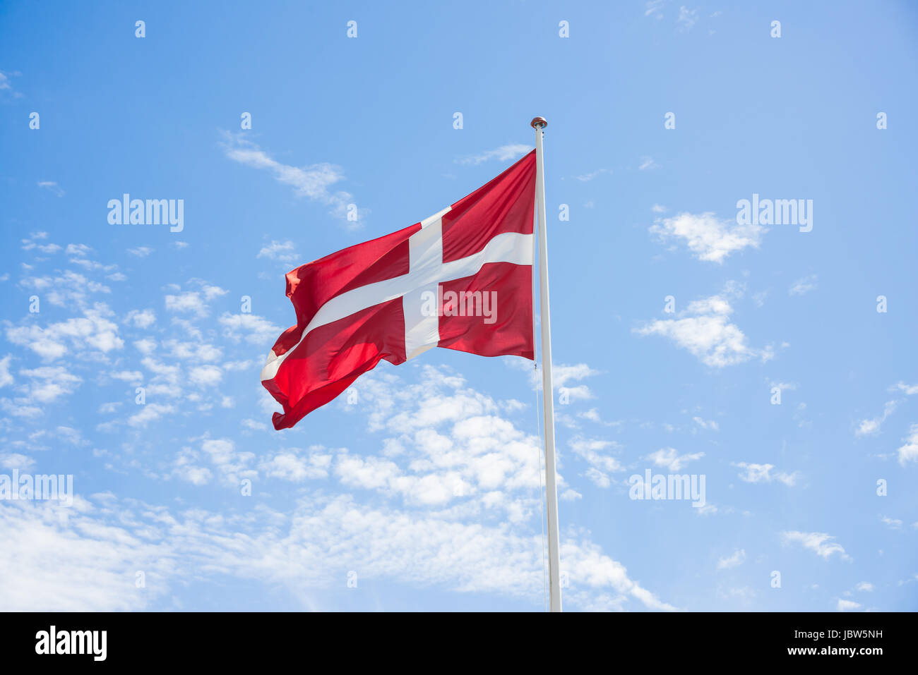 Denmark Flag with sky background - Stock Image
