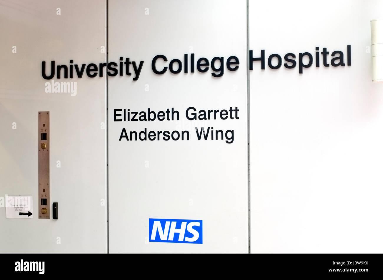 University College Hospital, Elizabeth Garrett Anderson Wing Entrance, London UK - Stock Image