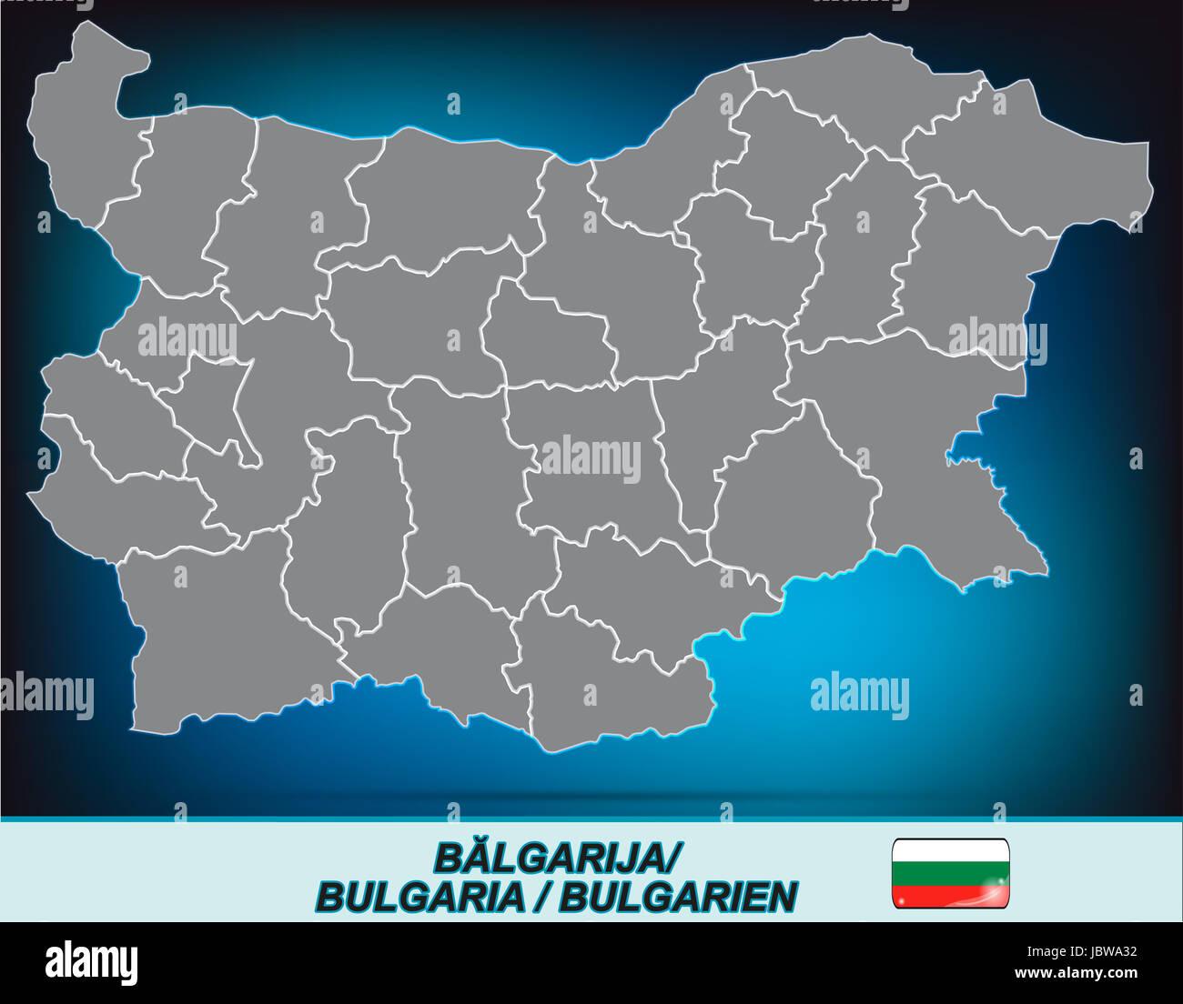 Karte Bulgarien.Karte Von Bulgarien Mit Grenzen In Leuchtend Grau Stock