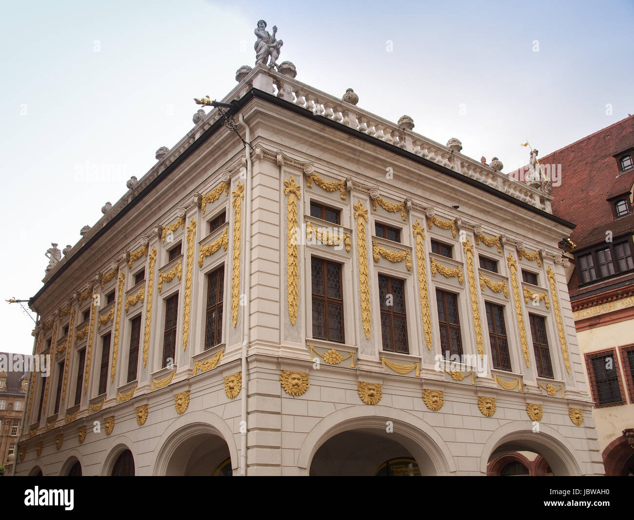The Alte Handelsboerse meaning Old Stock Exchange is one of the oldest baroque buildings in Leipzig Germany Stock Photo