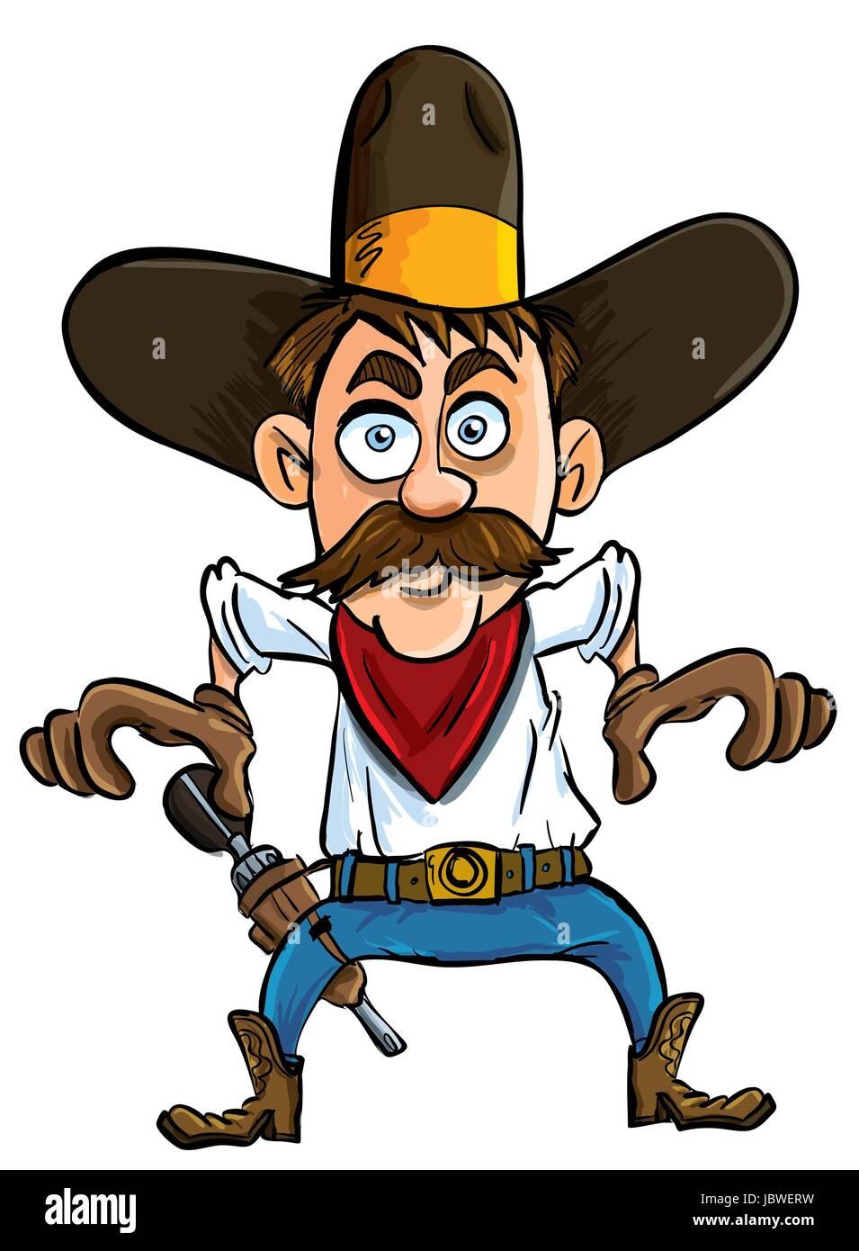 Cartoon Cowboy Ready To Draw Isolated Stock Photo Alamy