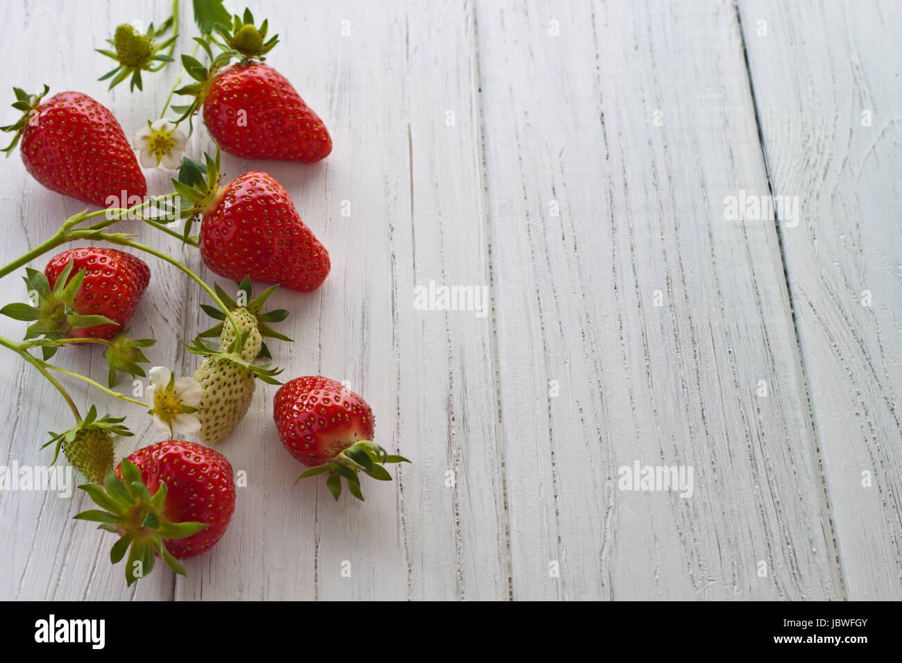Frisch gepflückte Erdbeeren auf einem weißen Holzuntergrund Stock Photo