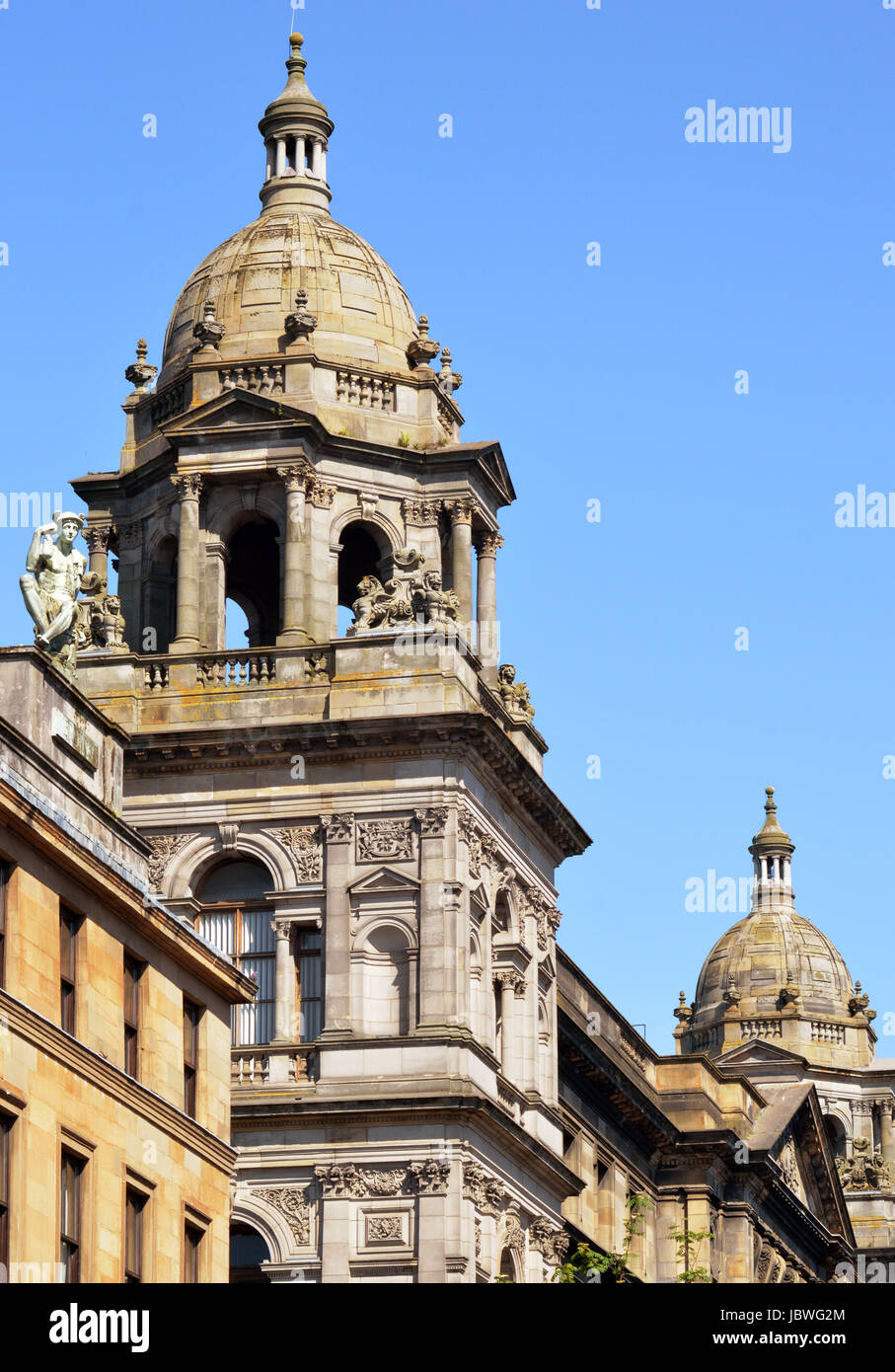 Detail of two towers from Glasgow City Chambers, Scotland, he building which serves as the headquarters of local - Stock Image