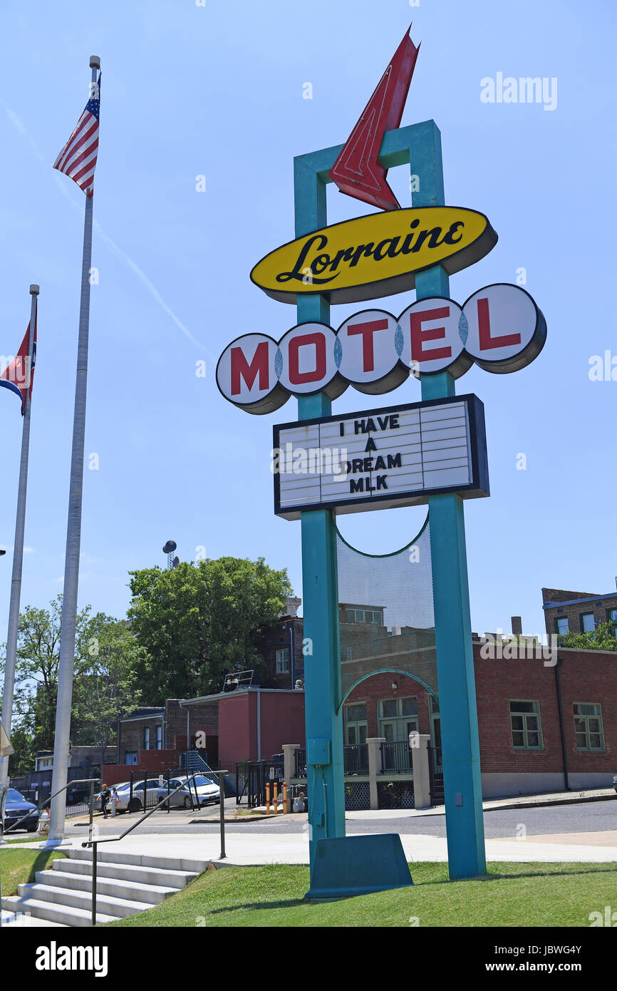 Memphis, TN, USA - June 9, 2017: The Lorraine Motel, site of the National Civil Rights Museum and the site of the Assassination of Dr. Martin Luther K Stock Photo