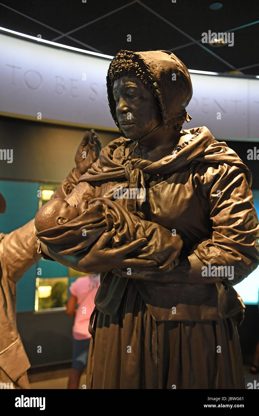 Memphis, TN, USA - June 9, 2017: Sculpture display of black slavewoman and child at the National Civil Rights Museum and the site of the Assassination Stock Photo