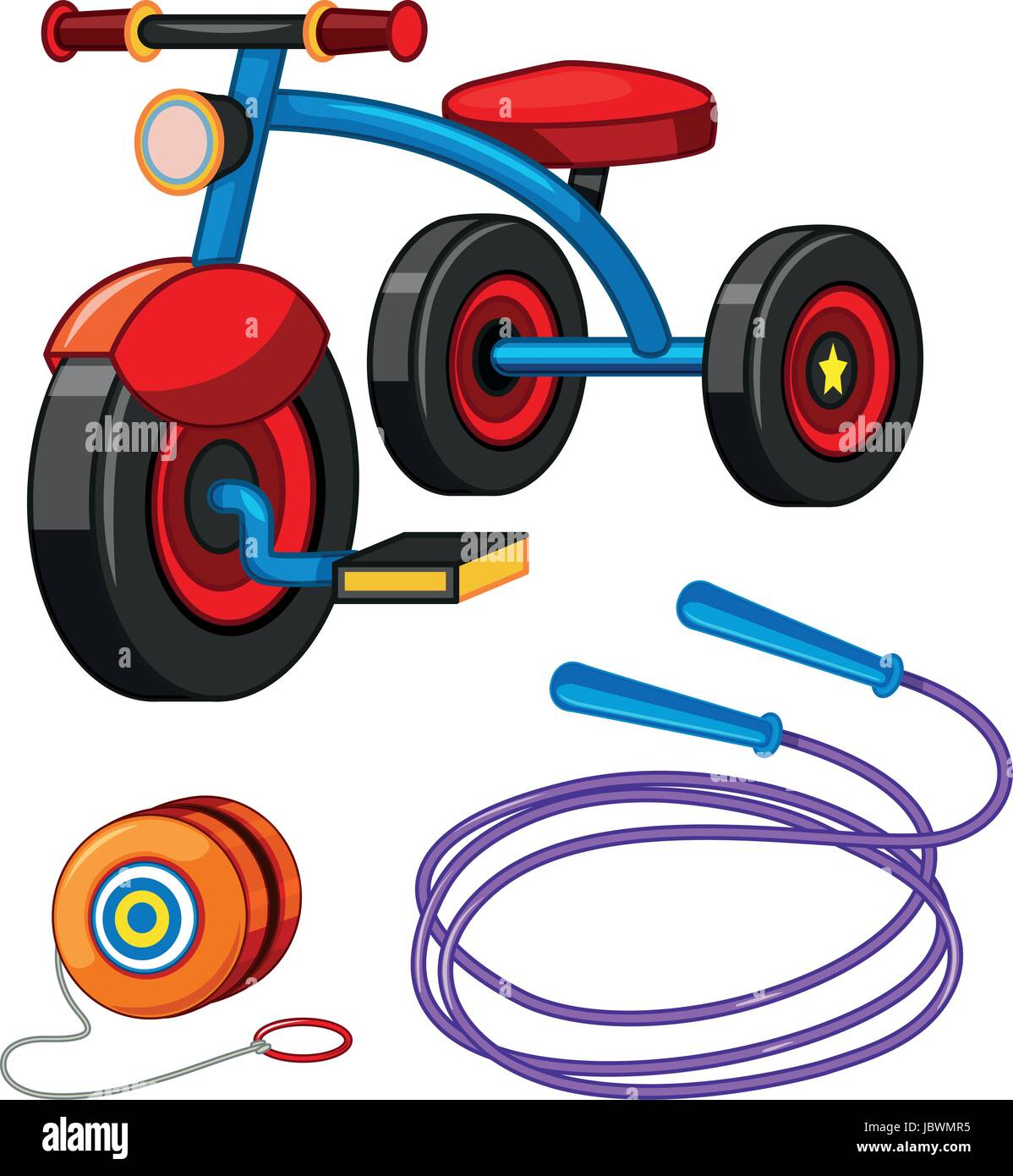Tricycle and other toys illustration - Stock Image