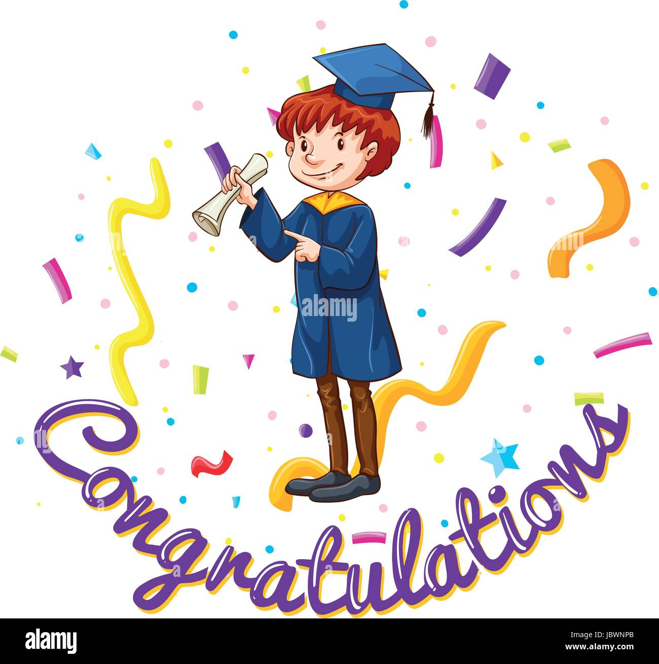 congratulations card template with man in graduation gown stock