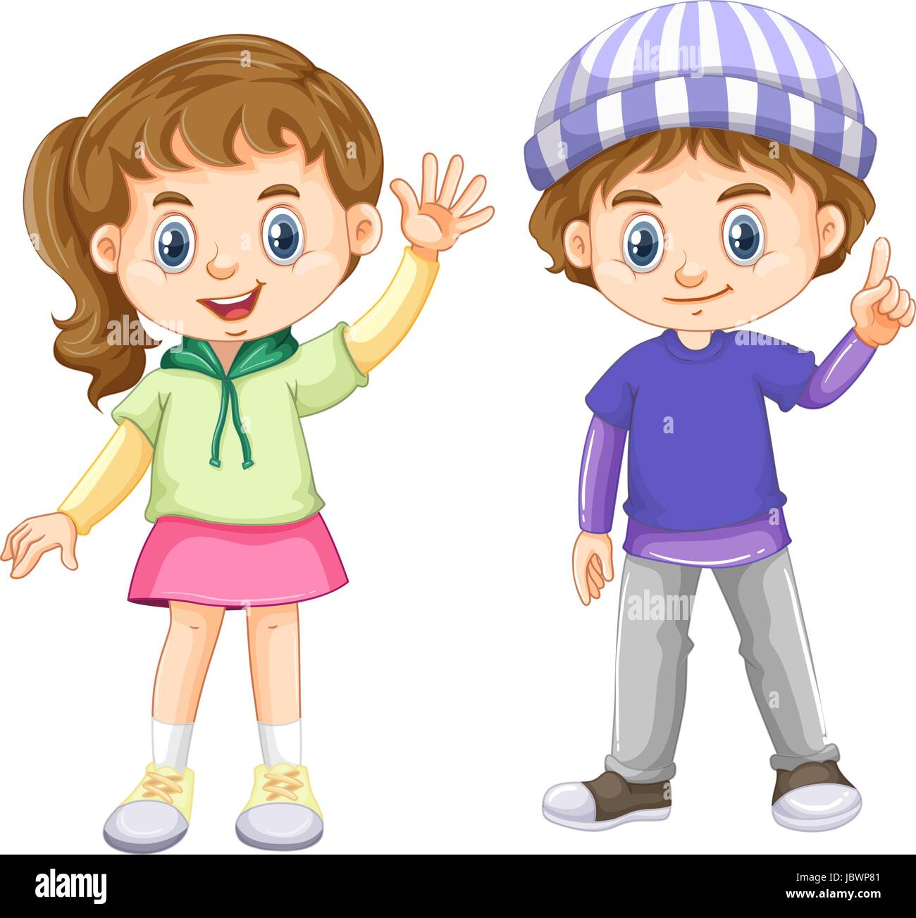 Cute boy and girl with happy face illustration Stock ...