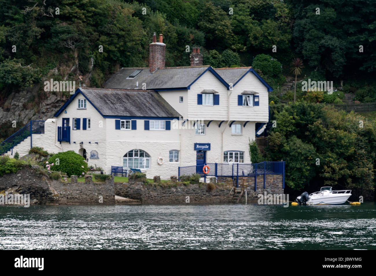 Dame Daphne du Maurier, Lady Browning DBE,an English author and playwright lived in this house on the banks of the - Stock Image