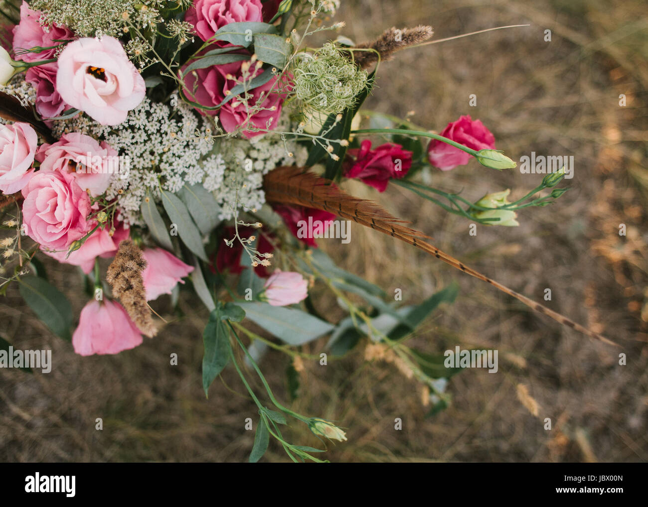 Flower composition outdoor. event, engagement concept. - Stock Image