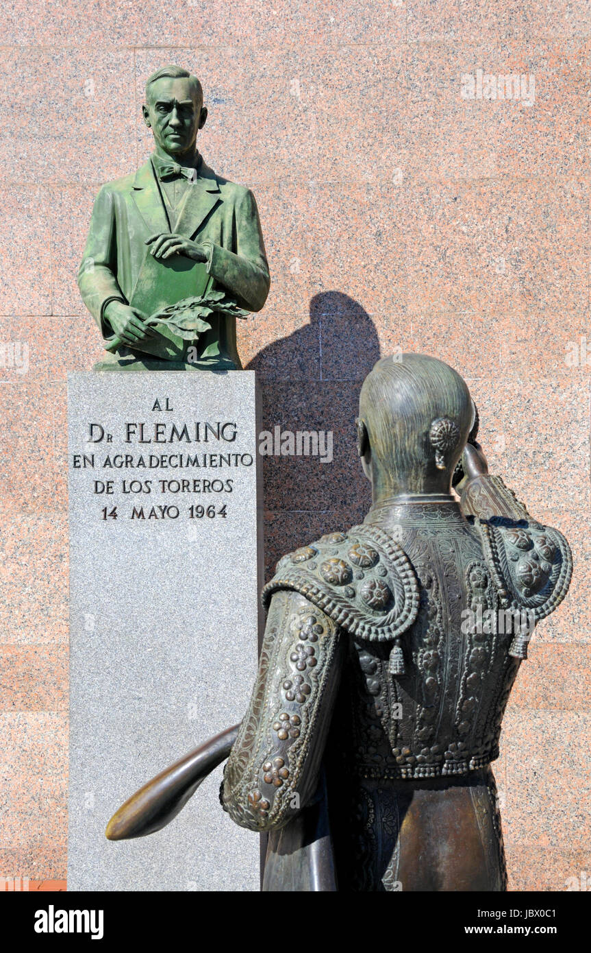 Madrid, Spain. Las Ventas bullring / Plaza de Toros. Memorial to Dr Alexander Fleming 'To Dr Fleming, with the - Stock Image