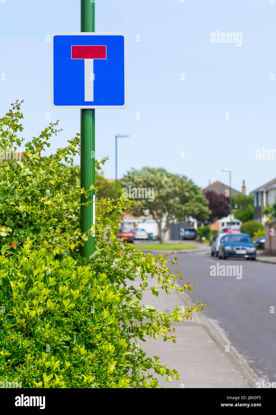 No Through Road sign on a small road in the UK. Stock Photo