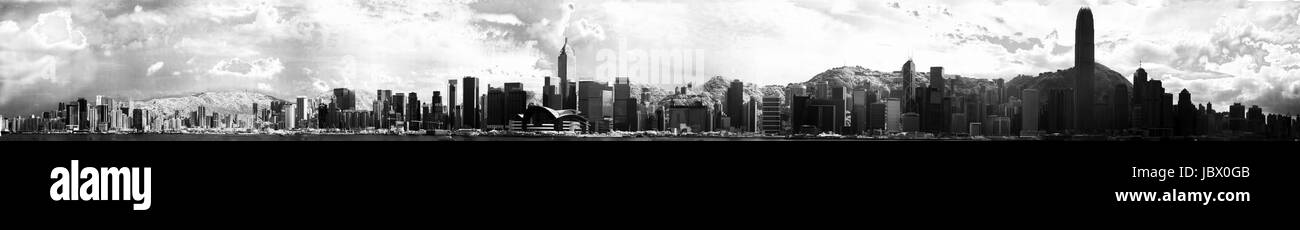 Panoramic Hongkong Cityscape in BW infra red - Stock Image