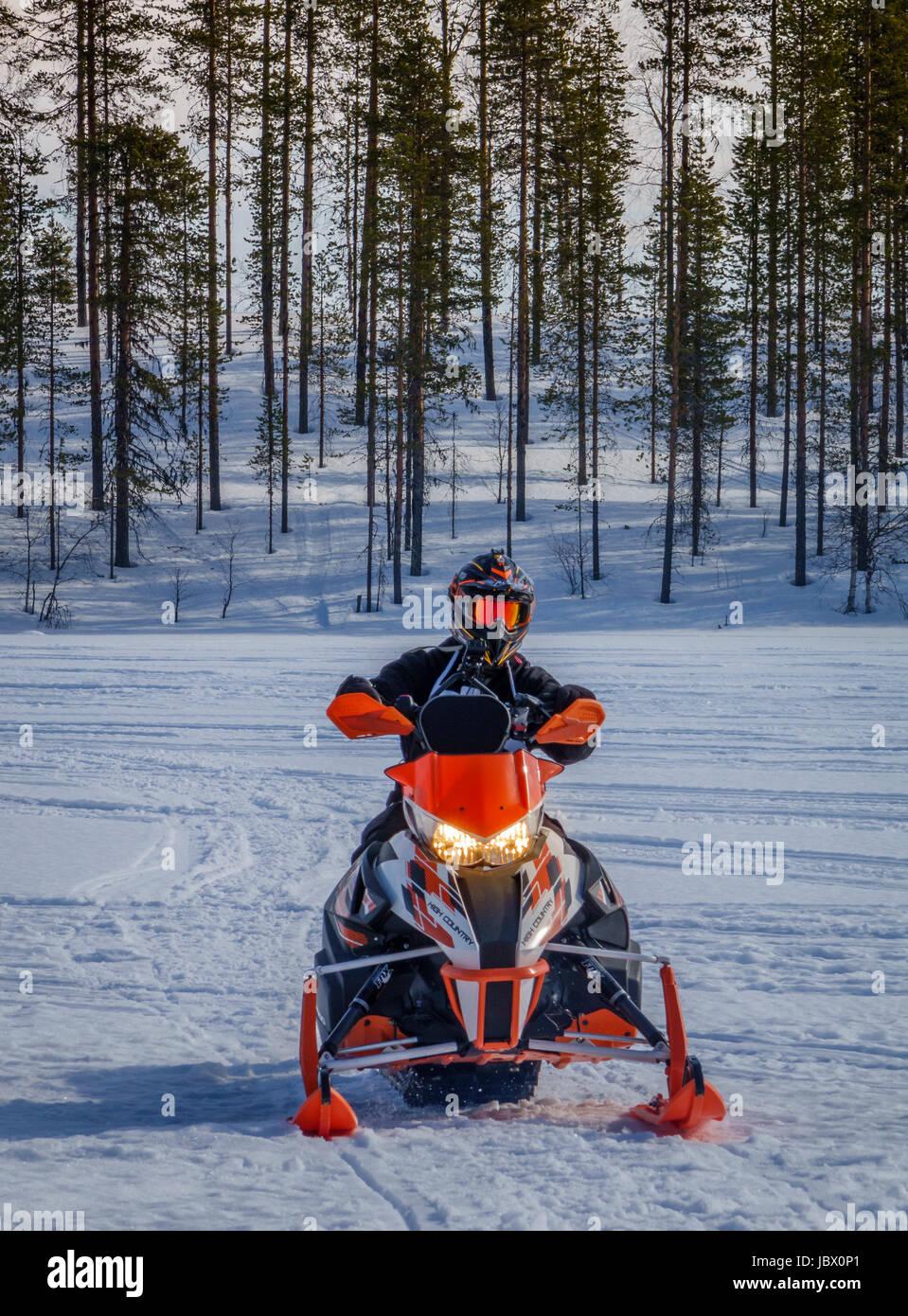 Snowmobiling, Kangos, Lapland, Sweden Stock Photo