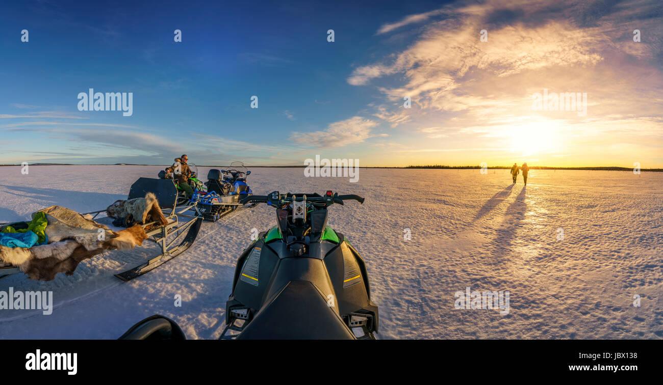 Snowmobiling, Kangos, Lapland, Sweden. - Stock Image