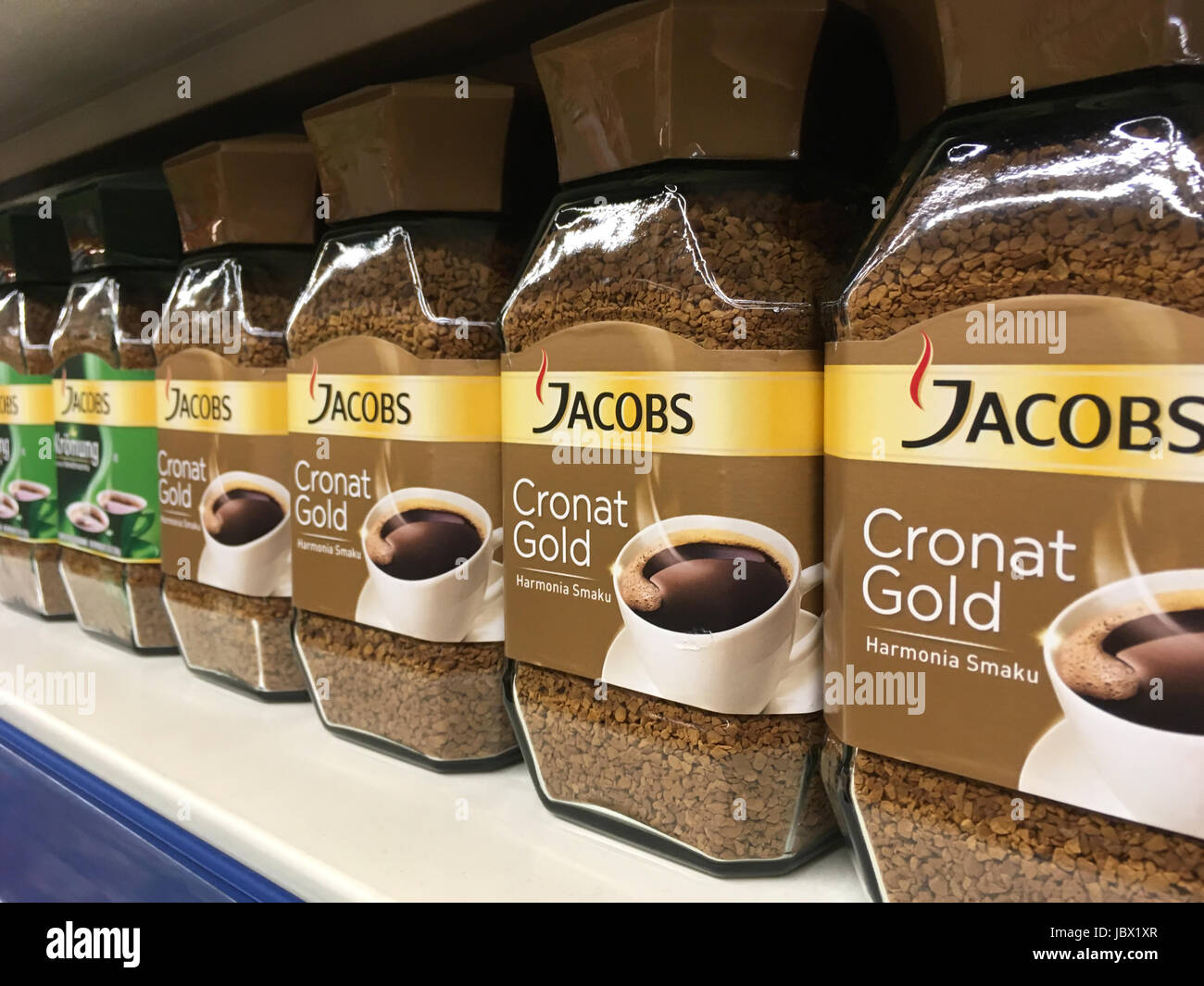 Nowy Sacz, Poland - April 26, 2017:  Various types of Jacobs coffee for sale in E.leclerc Supermarket. Jacobs is - Stock Image