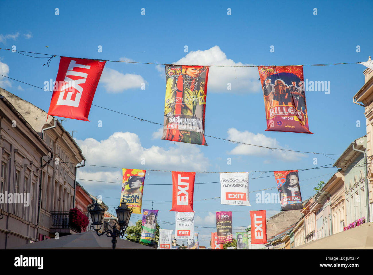 NOVI SAD, SERBIA - JUNE 11, 2017: Banners and flag in Novi Sad main streets announcing the upcoming Exit festival, - Stock Image