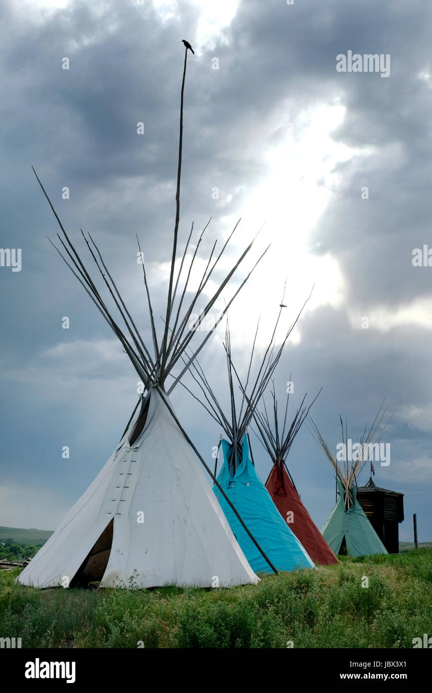 Native American Teepee at the Little Bighorn Battlefield Trading Post, Crow Agency, Montana, USA. Stock Photo