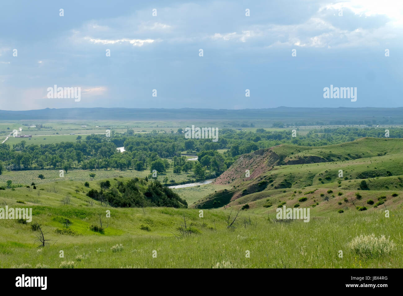 A view looking down on the Bighorn river valley where the native indian camp was situated in the lead up to the Battle of the Little Bighorn in 1876 Stock Photo