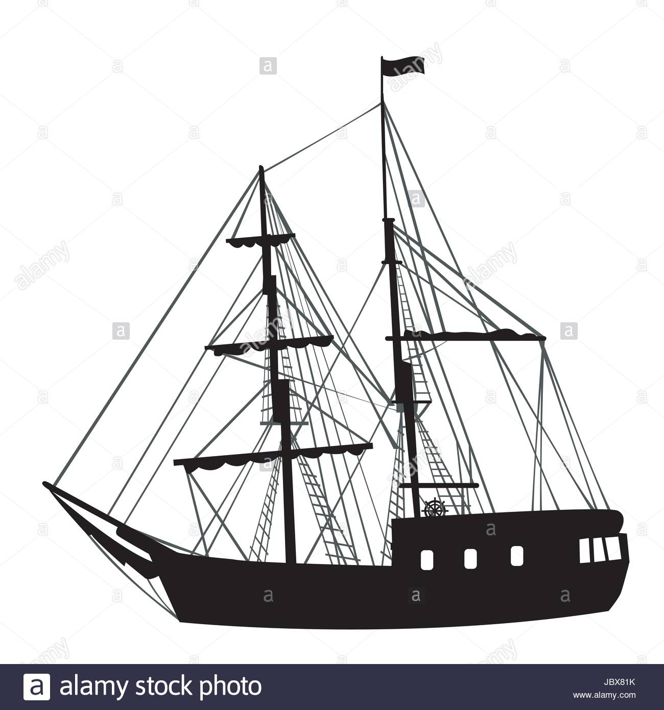 Silhouette of a black sailing ship on white background - Stock Vector