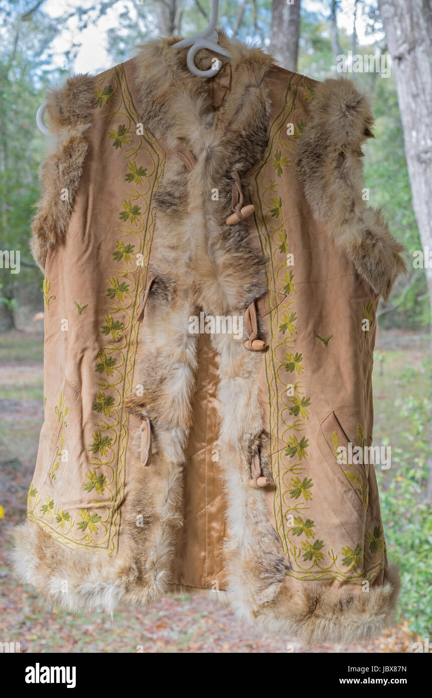 Handmade leather vest with rabbit fur trim from Nepal - Stock Image
