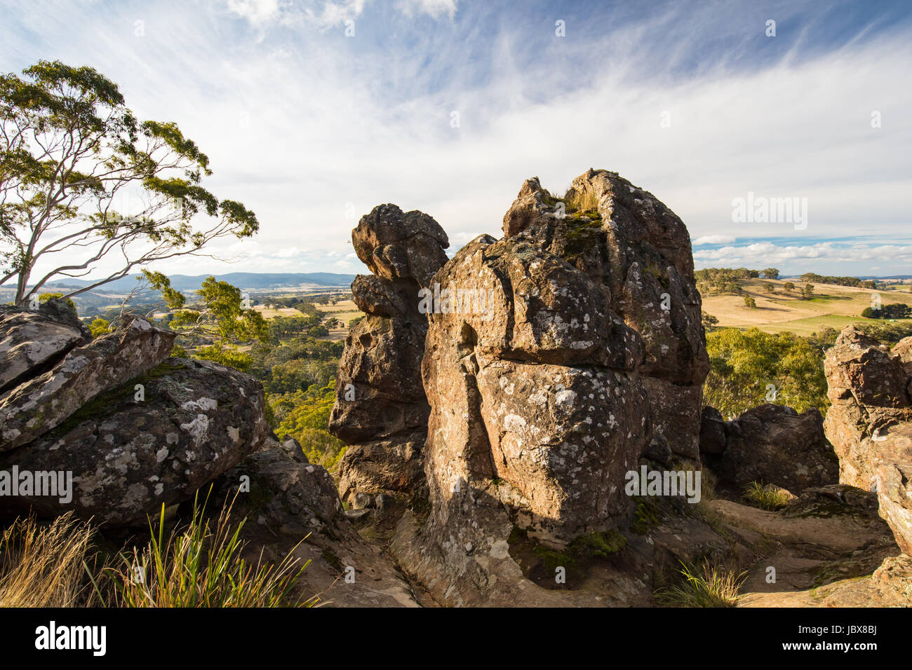 The popular tourist attraction of Hanging Rock. A volcanic group of rocks atop a hill in the Macedon ranges, Victoria, Stock Photo
