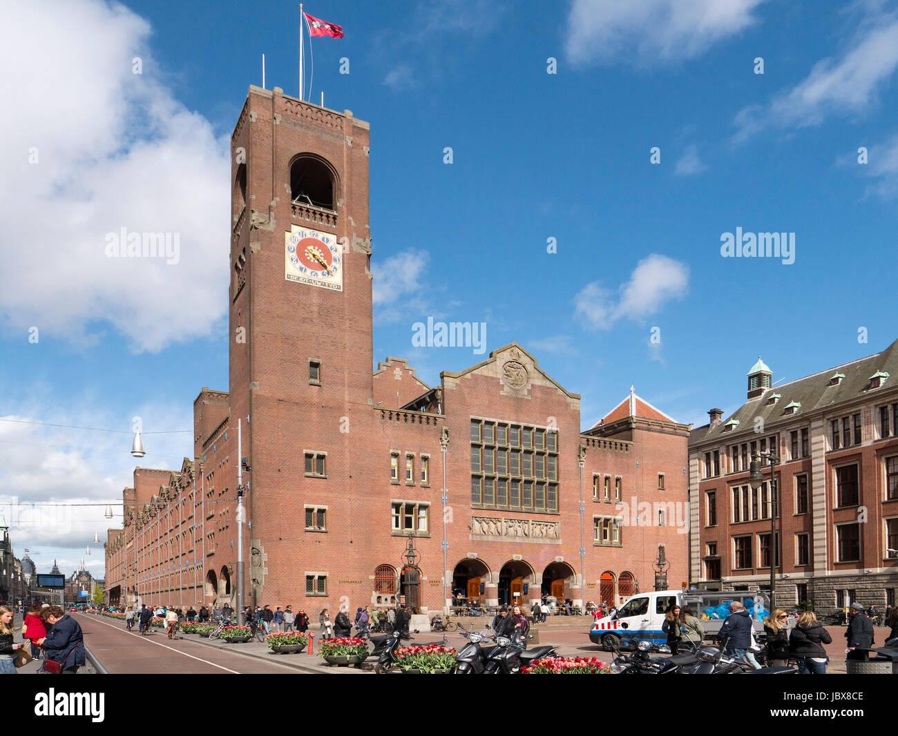 former stock exchange Beurs van Berlage at  Damrak, Amsterdam, Amsterdam, Province North Holland, Netherlands - Stock Image