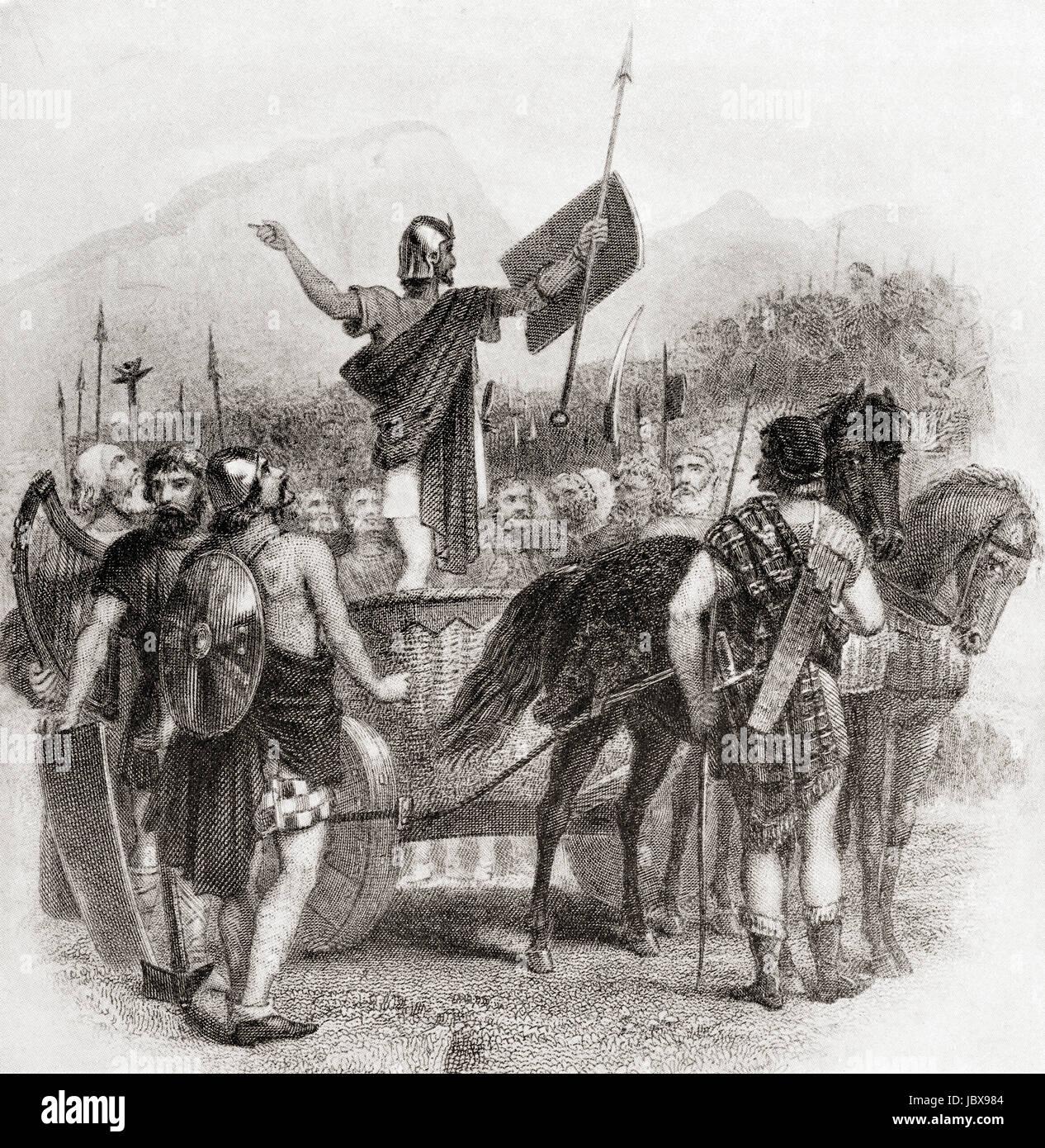 Calgacus addressing his army before the Battle of Mons Grampius, c. A.D.84.  Calgacus, aka Calgacos or Galgacus. - Stock Image