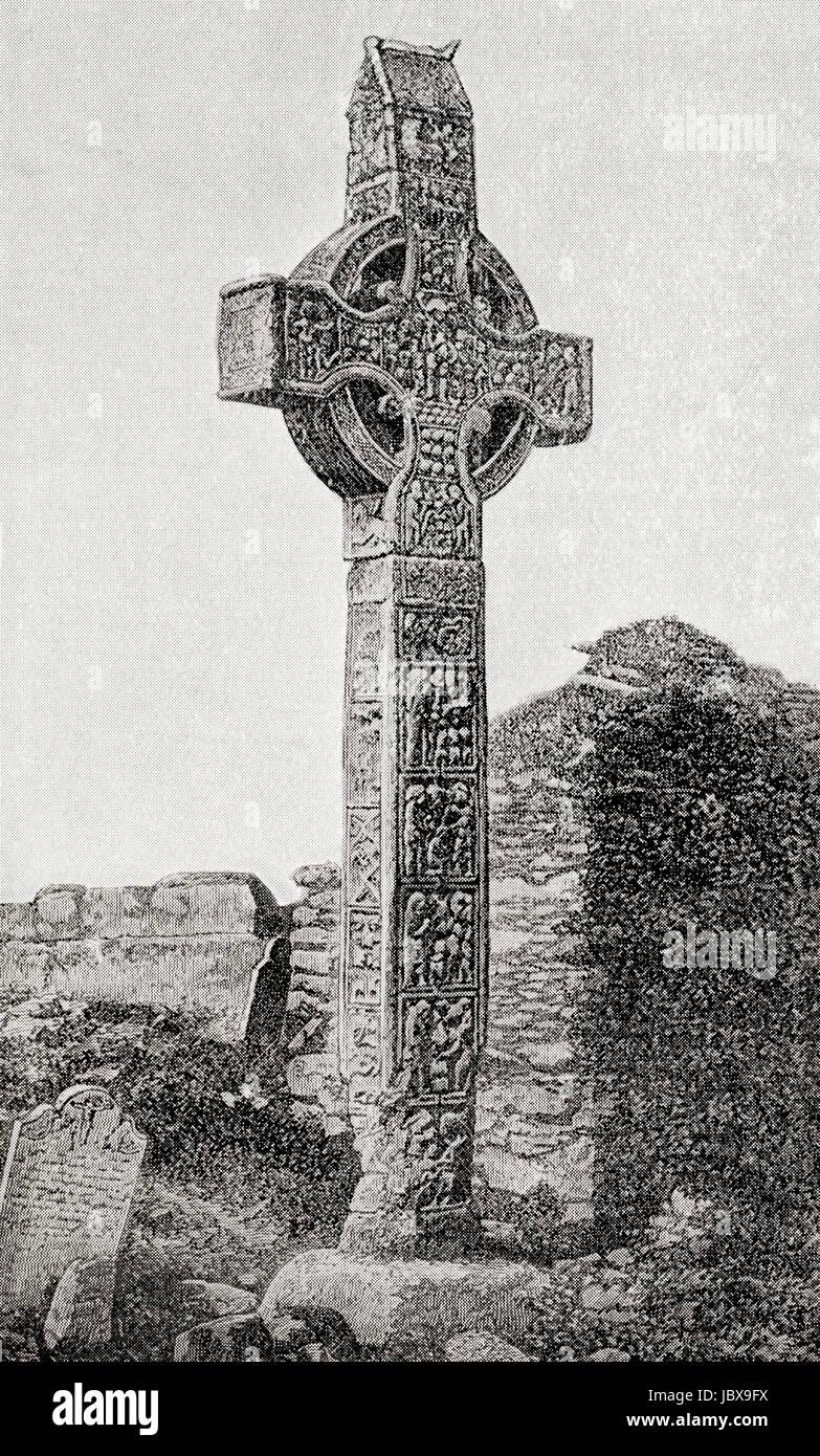The Great Cross, aka Muiredach's High Cross, Monasterboice, County Louth, Ireland.  From Hutchinson's History - Stock Image