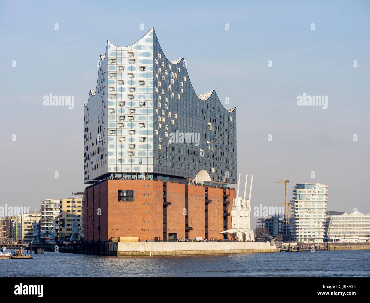 Elbphilharmonie, Marco Polo Tower and Unilever-House, Hamburg, Germany - Stock Image