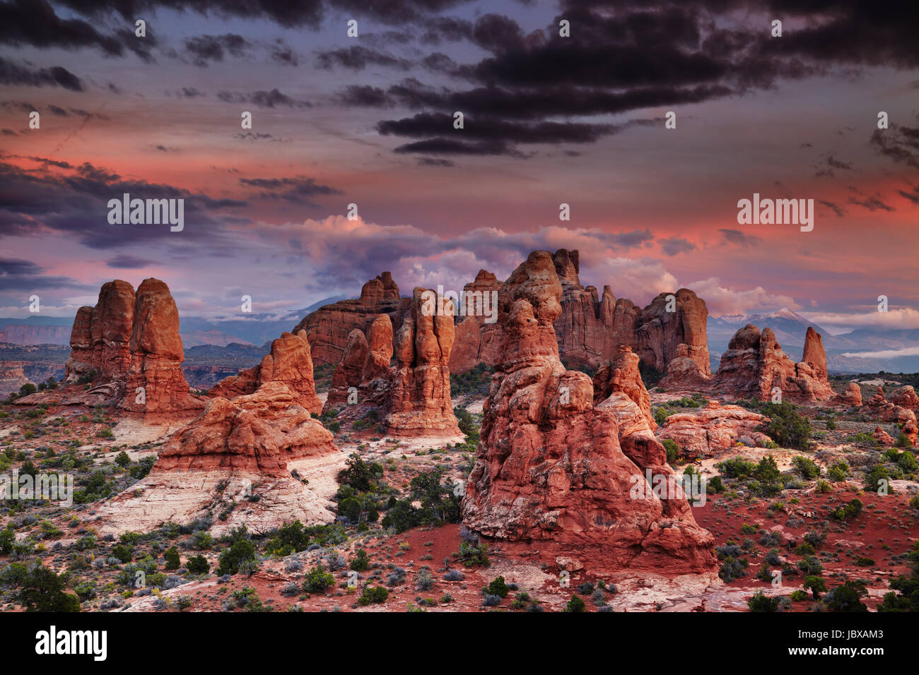 Colorful sunset in Arches National Park, Utah, USA Stock Photo