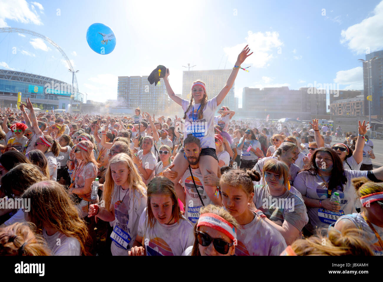 Color Run London, at Wembley Park. Audience partying. Space for copy - Stock Image