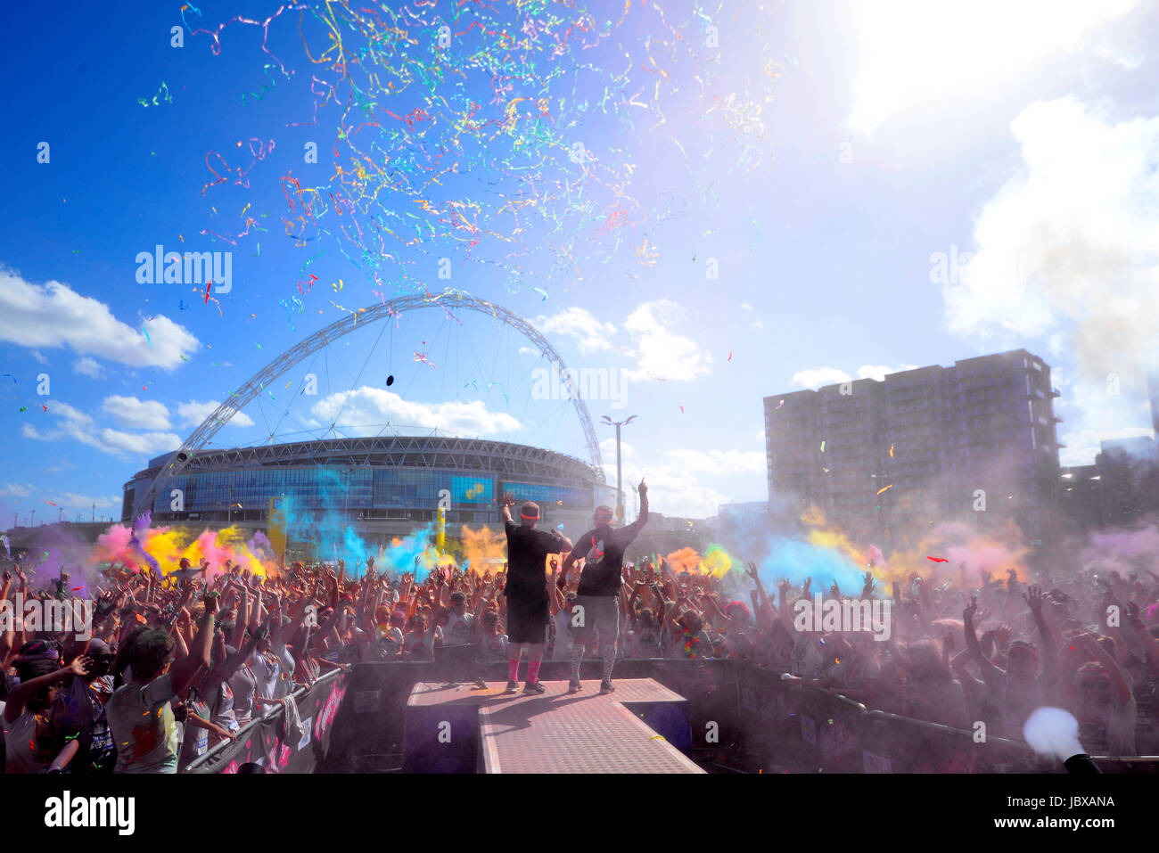 Color Run London, at Wembley Park. Finish Festival Stage. Space for copy - Stock Image