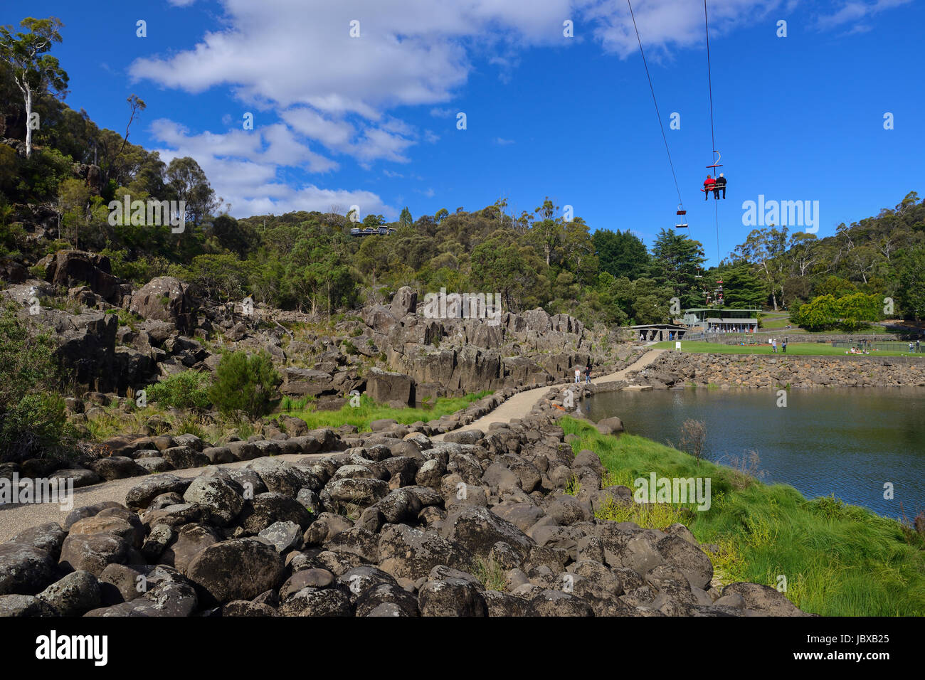 Chairlift above the First Basin on the South Esk River within the Cataract Gorge in Launceston, Tasmania, Australia Stock Photo