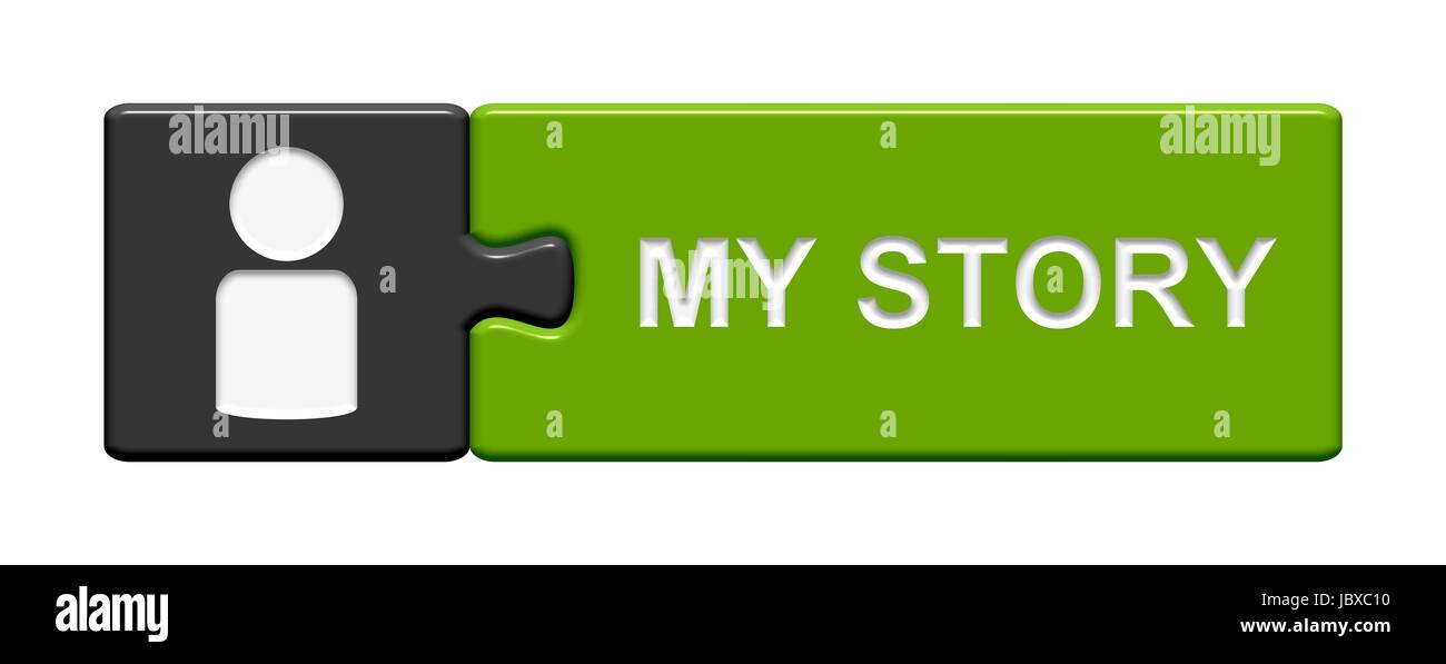 puzzle button: my story - Stock Image