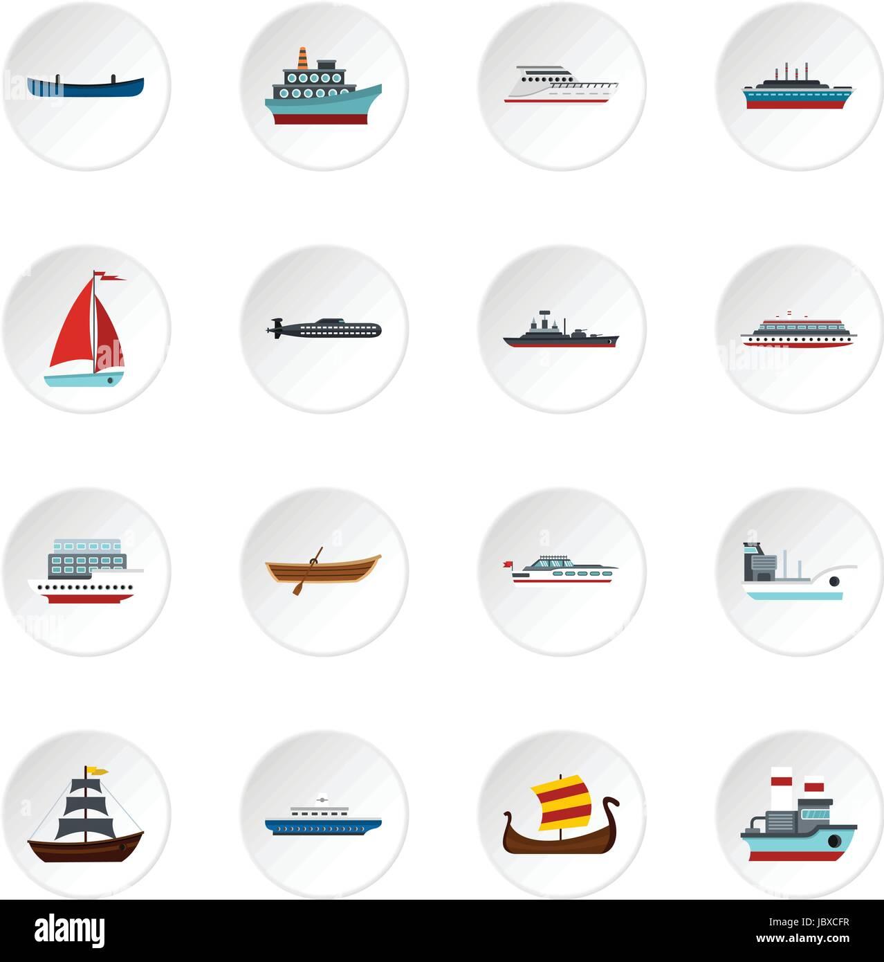 Sea transport set flat icons - Stock Image
