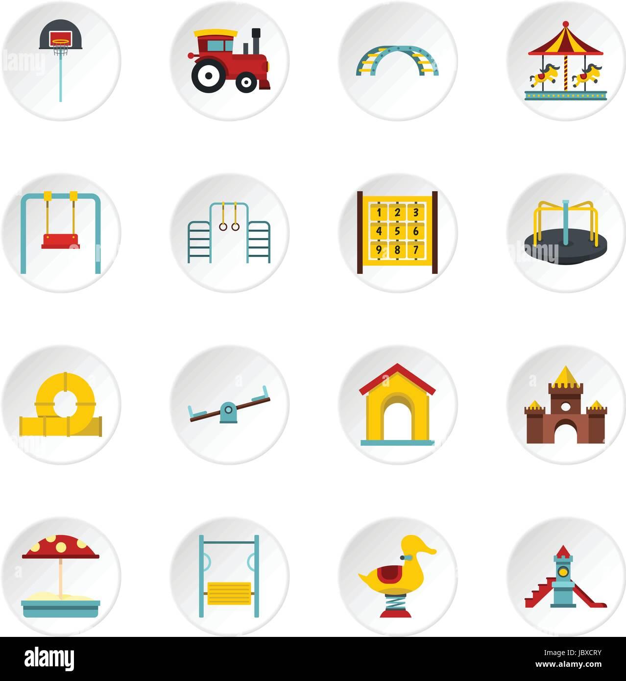 Playground set flat icons Stock Vector