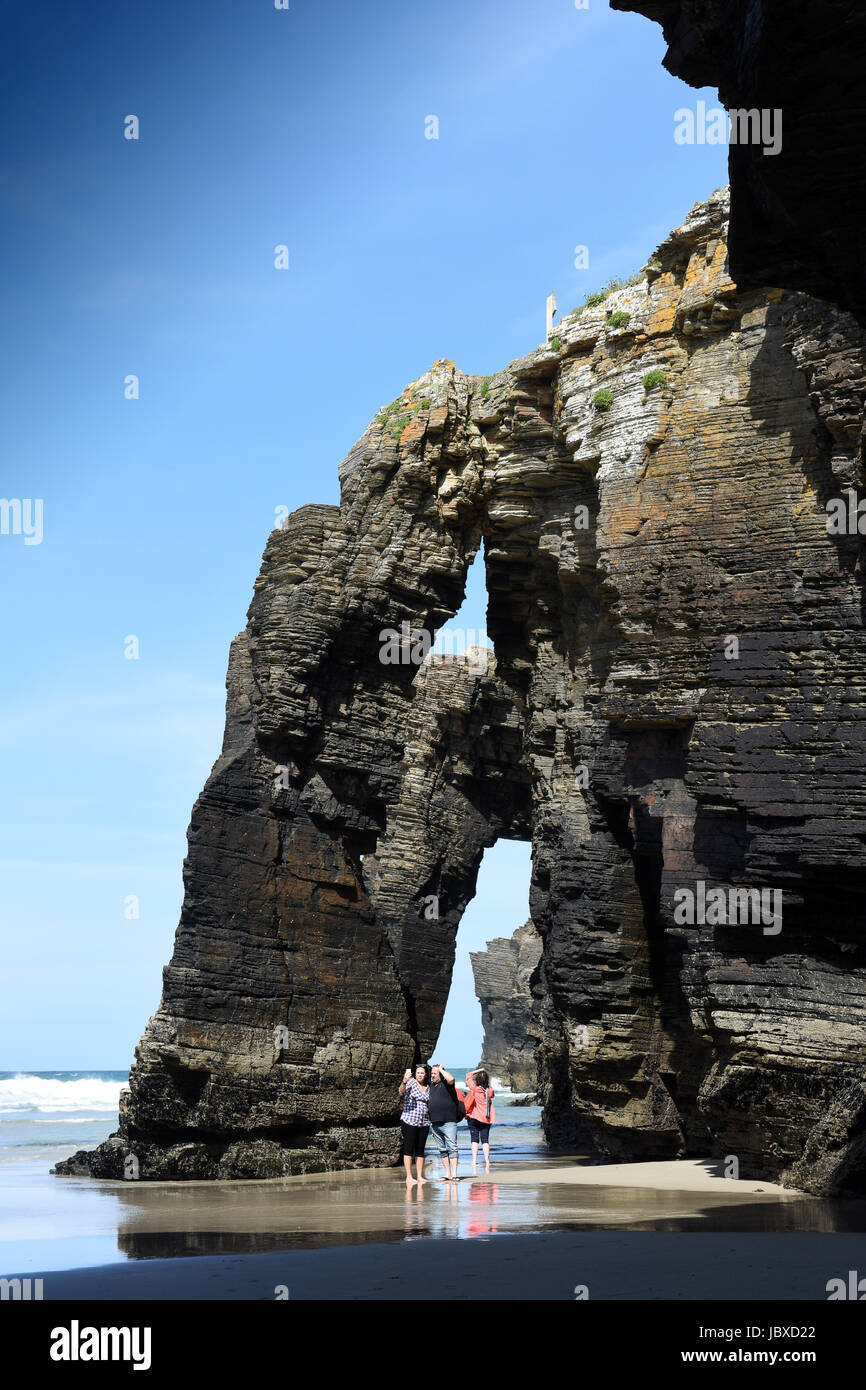 Natural rock arches on Cathedrals beach in Galicia, Northern Spain. Cantabric coast,  Galicia, Spain. - Stock Image