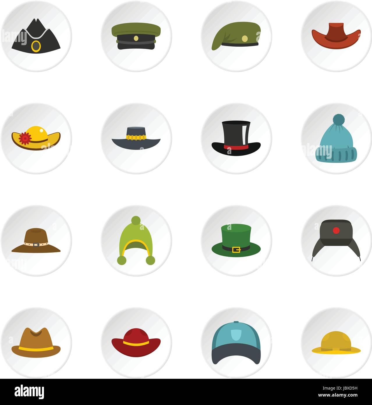 Headdress hat icons set in flat style - Stock Image